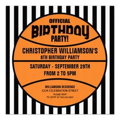 childs basketball birthday party personalized announcement from zazzlecom - Basketball Party Invitations