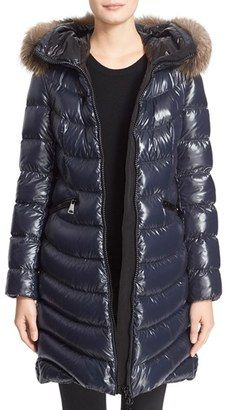 Shop Now - >  https://api.shopstyle.com/action/apiVisitRetailer?id=527845923&pid=uid6996-25233114-59 Women's Moncler 'Aphia' Water Resistant Shiny Nylon Down Puffer Coat With Removable Genuine Fox Fur Trim  ...