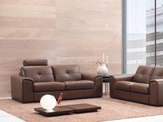 composizione divano 3 posti + 2 posti con poggiareni in vera pelle ... - Pelle Marrone Divano Letto Matrimoniale