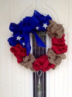 Rustic Burlap Wreath Patriotic 4th of July by ClaraJaneBoutique, $30.00