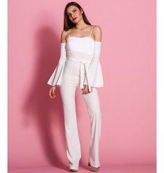 Ολόσωμη Φόρμα Καμπάνα Έξωμη με Ραντάκια  και Φαρδιά Μανίκια  - Λευκό Jumpsuit, Pants, Dresses, Fashion, Overalls, Trouser Pants, Vestidos, Moda, Monkeys
