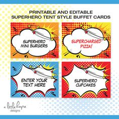 Superhero EDITABLE Folding Buffet Card, Food Label, Dessert Label, Food Tent / Instant Download