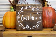 Thanksgiving Wood Sign, Fall Decor, Gather Wood Block, Thanksgiving Decor, Wooden Sign, Autumn Decor, Rustic, Primitive Wreath, Shelf Sitter by TinSheepShop on Etsy