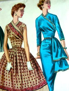 Vintage 50s Evening Gown Full Skirt or Fitted with Sash - McCalls 3472