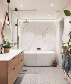 Mermaid Bathroom Decor, White Bathroom Decor, Modern Master Bathroom, Bathroom Inspo, Budget Bathroom, Bathroom Layout, Modern Bathroom Design, Bathroom Styling, Bathroom Interior Design