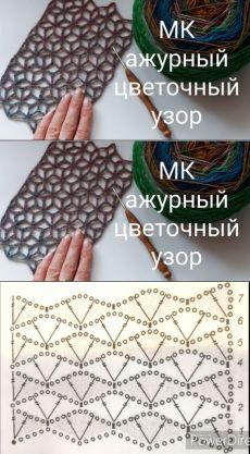 Crochet Stitches Chart, Crochet Diagram, Crochet Motif, Diy Crochet, Crochet Designs, Lace Crochet Patterns, Crochet Baby, Crochet Projects, Knitting Patterns