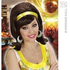 Ladies 50S 60S Brown Mod Go Go Girl Fancy Dress Wig #Widmann