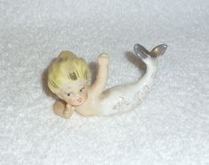 Vintage Mermaid Figurine Blonde Hair Gold White Bathing Beauty Girl Lady