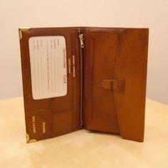 Vintage real leather men's wallet  nut brown  by UKAmobile on Etsy