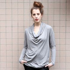 Gray striped Tunic Top by GUSTASTORE on Etsy, $55.00