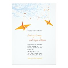 Shop Hanging Orange Origami Cranes & Love Quote Wedding Invitation created by fatfatin_red_knot. Personalize it with photos & text or purchase as is! Invitation Text, Invitation Design, Custom Invitations, Wedding Invitations, Invites, Paper Crane Wedding, Mickey Mouse Birthday Invitations, Oriental Wedding, Origami Wedding