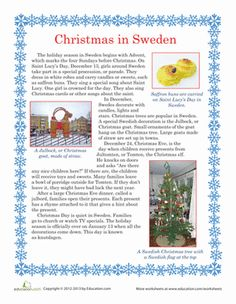 Christmas First Grade Comprehension Vocabulary Worksheets: Christmas in Sweden