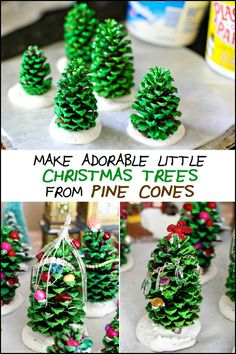 Decorate your home with these adorable little Christmas trees made from pine cones!