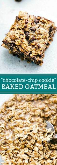 Chocolate Chip Cookie Oatmeal Square The ultimate BEST EVER baked oatmeal! Flavored to taste like an oatmeal chocolate-chip cookie! via The ultimate BEST EVER baked oatmeal! Flavored to taste like an oatmeal chocolate-chip cookie! Oatmeal Flavors, Baked Oatmeal Recipes, Baked Oatmeal Bars, Healthy Baked Oatmeal, Baked Oatmeal Casserole, Overnight Oatmeal, Best Oatmeal Recipe, Vegan Casserole, Breakfast Bake