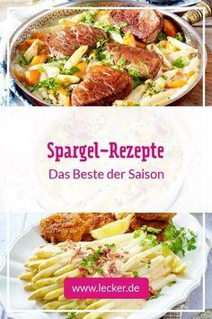 Endlich wieder Spargel! Ab jetzt heißt es, so viele köstliche Spargel-Rezepte auszuprobieren, wie es nur geht. Starte doch mit unseren Rezepten für weißen Spargel und schlemme dich durch die wohl beste Zeit des Jahres. #spargel #spargelsaison #spargelrezepte #spargelsuppe #spargelsalat #spargelgratin #spargelcremesuppe #spargelpfanne #hollandaise #spargelragout #spargelauflauf #rezepte #saison #frühlingsrezepte #frühling Meat, Food, Best Asparagus Recipe, Easy Meals, Food And Drinks, Essen, Meals, Yemek, Eten