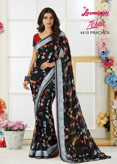 Looking for Multicolor Colour Georgette Printed Sarees and Multicolor Colour Blouse along with Satin Jacquard Patta, Cutwork Lace Border In India? #LaxmipatiSarees si your one stop shop for all kinds of designer printed sarees. 100% genuine products guaranteed. Limited Stock! #Catalogue #Zeeba #Design_Number: 4410 #Price - Rs. 1808.00  #Bridal #ReadyToWear #Wedding #Apparel #Art #Autumn #Black #Border #MakeInIndia #CasualSarees #Clothi