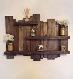 Floating distressed shelves wall mounted shelf by Allthingzrustic – Schwimmendes Wandregal von Allthingzrustic – Rustic Wall Shelves, Solid Wood Shelves, Wood Wall Shelf, Floating Wall Shelves, Wall Mounted Shelves, Rustic Walls, Wooden Shelves, Rustic Decor, Pallet Shelves