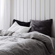 Pair of Washed Linen Euro Shams Linen is our very favorite fabrication for bedding. This soft, washed linen bedding is designed in Australia and woven Neutral Bed Linen, Black Bed Linen, Black And Grey Bedding, White Bed Linens, Black Bed Sheets, Neutral Bedding, Bedding Sets Online, Luxury Bedding Sets, Plum Bedding