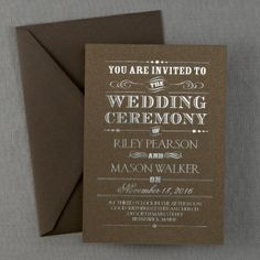Rustic Invitation in Mocha Shimmer Cardstock and Silver Foil Ink  - This contemporary invitation is shown with a rustic design. Available in several cardstock and ink color combinations.