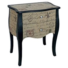 I think I just found my inspiration for my first decoupage project ;-) Found it at Wayfair - Carte Postal 2 Drawer Chest in Gray