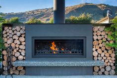 Outdoor Fire, Outdoor Areas, Outdoor Living, Outdoor Decor, New Zealand Image, Backyard Fireplace, Mountain Modern, Corten Steel, Polished Concrete