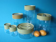 ♥Pyrex Jar Store N See Canister Set Glass Avocado Green 6 pieces - Vintage 1970's by #LucyBettyNJune on Etsy