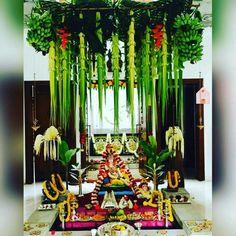 Festival Decorations, Flower Decorations, Wedding Decorations, Ganesh Pooja, Indian Wedding Theme, Ganpati Decoration At Home, Ganapati Decoration, Diwali Rangoli, Backyard Patio Designs