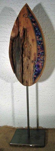 Skulpturen - Holz-Glas-Skulptur Blatt - ein Designerstück von Peter-Kahlen bei DaWanda