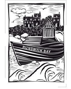 Items similar to Runswick Bay Seaside Greetings Card on Etsy Lino Art, Messy Art, Sgraffito, Tampons, Yorkshire, Printmaking, Cnc, Seaside, Boats