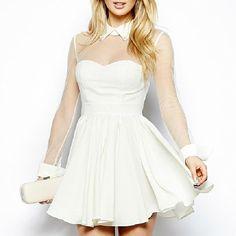 Slim fit velvet splicing spiral long sleeve white dress love