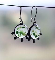 Drop earrings made from green and clear ​​fused glass, tin and patinated copper in Tiffany technique. Glass melted more than 800 C (1472 °F). #artkvarta #earrings #spring #freshstyle #fusedglass #drop #handcrafted #glass #jewelry