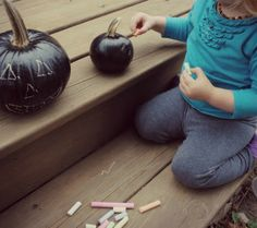 Use chalkboard paint to make your pumpkin  a blank canvas. This is a really neat idea!!!!