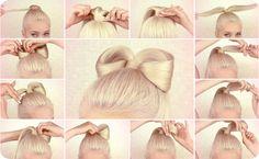 How to do Lady Gaga bow hair styles tutorial Vintage Hairstyles, Cute Hairstyles, Hairdos, Lady Gaga Hair, Hair Knot, Diy Hair Bows, Great Hair, Hair Designs, Healthy Hair