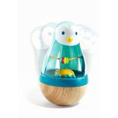 Die Wackelfigur Roly Pingui von Djeco lässt Kleinkinderherzen höher schlagen.        Hier gibt es viel zu sehen und zu hören. Wenn man die Wackelfigur anschubst, kommen die Kugeln im Inneren in Bewegung und rollen...