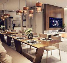 """563 curtidas, 18 comentários - Arquitetura Interiores Decor (@decoratrends) no Instagram: """"Bom dia. Olha só!  que inspiração linda pra começar o dia. Mesa linda e os pendentes então...…"""""""
