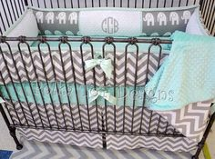 Elephant  Gray & Mint Baby Bedding Perfect for by PolkaToTBedding   #Elephants #Baby