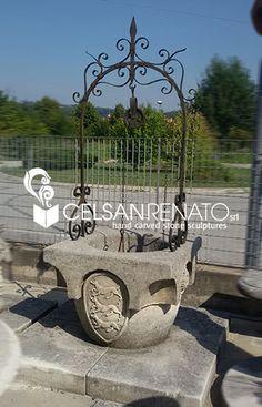 Typical Venetian stone wellhead with carved hunting subject crest || Pozzo in pietra, in tipico stile veneziano,  decorato con stemma in tema di caccia To find out more visit our website!