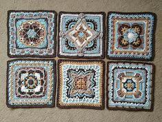 26 July 2016 Time to tackle some more ambitious Polly Plum squares for a cosy Afghan, cushion cover, wall hanging… whatever takes my fancy. Crochet Square Blanket, Crochet Squares Afghan, Granny Square Crochet Pattern, Granny Squares, Crochet Mandala Pattern, Afghan Crochet Patterns, Embroidery Patterns, Crochet Crafts, Yarn Crafts