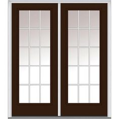 Milliken Millwork 74 in. x 81.75 in. Classic Clear Glass GBG Low-E Full Lite Painted Majestic Steel Exterior Double Door, Polished Mahogany