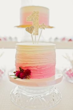 Pink Ombre First Birthday Cake