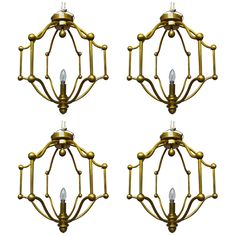Exceptional Set of Four Round Neoclassic Gold Bronze Cage French Chandeliers French Chandelier, Chandelier Pendant Lights, Vintage Chandelier, Modern Chandelier, Chandeliers, Element Lighting, Bronze, Contemporary Lamps, Light In The Dark