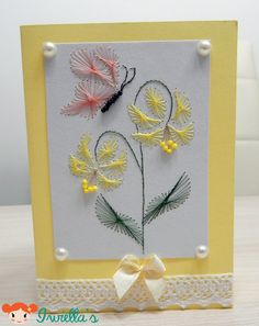 Simple birthday card - stitching paper technique