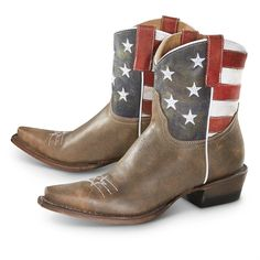 Women's Roper American Flag Cowboy Boots, Brown