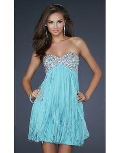 strapless string beaded dress