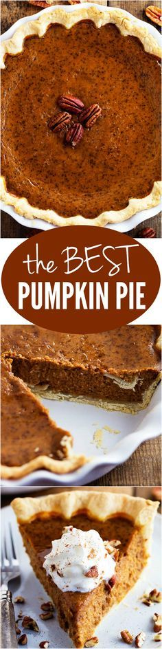 Smooth Thick Creamy and AMAZING! This was a recipe my grandma used and it is the BEST! - Chef Knife - Ideas of Chef Knife Best Pumpkin Pie, Pumpkin Pecan Pie, Pumpkin Dessert, Pie Dessert, Pumpkin Recipes, Fall Recipes, Pumpkin Spice, Sweet Recipes, Holiday Recipes
