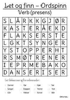 Let og finn - Verb Teaching Resources, Let It Be, Grammar, Kunst