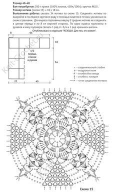 Выкройка, схемы узоров с описанием вязания крючком женской туники из квадратных мотивов размера 46-48.