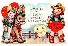 Cowboy Flirts with Cowgirl Girlfriend Be My Valentine Old Vintage Diecut Card | eBay
