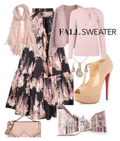"""""""Pale Pink Cozy Fall Sweater"""" by mdfletch ❤ liked on Polyvore featuring Karl Lagerfeld, Rochas, Christian Louboutin, Chicwish, Marella, Chan Luu and CozyFallSweater"""