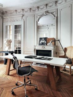 50 Inspirational Workspaces & Offices - Chevron wood floors and detailed moldings